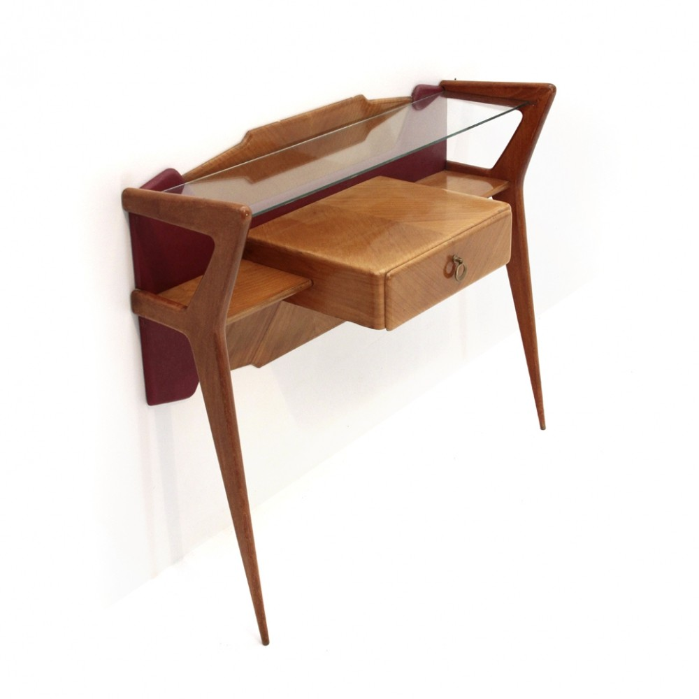 Italian Mid-century console with glass top, 1950s
