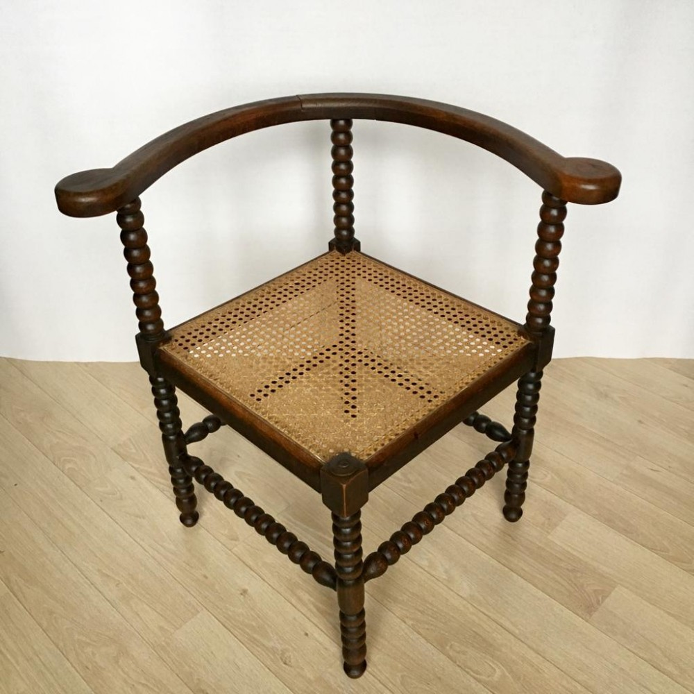Antique Dutch Oak Corner Chair with Cane Seat