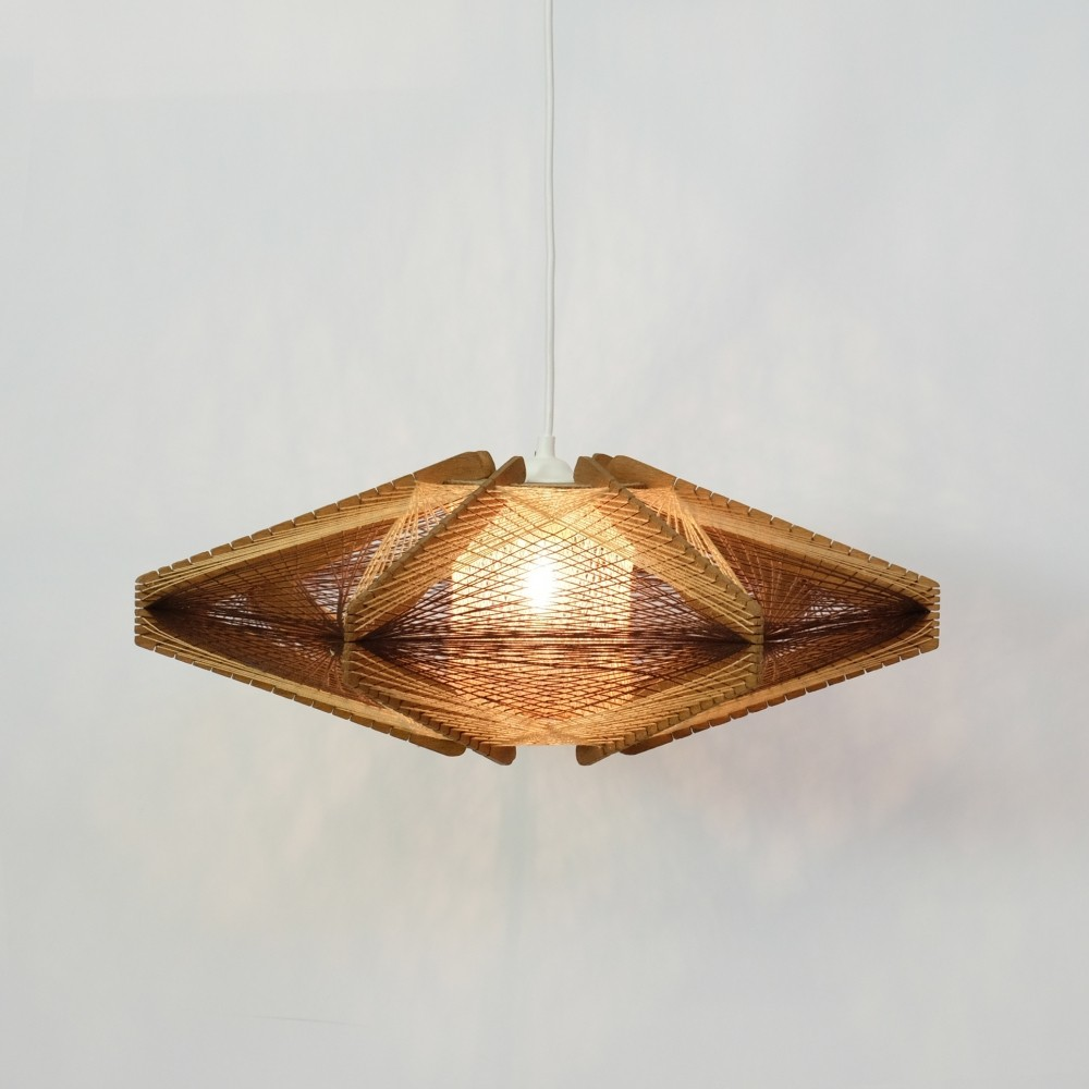 Wood & string pendant from the 1960s-1970s