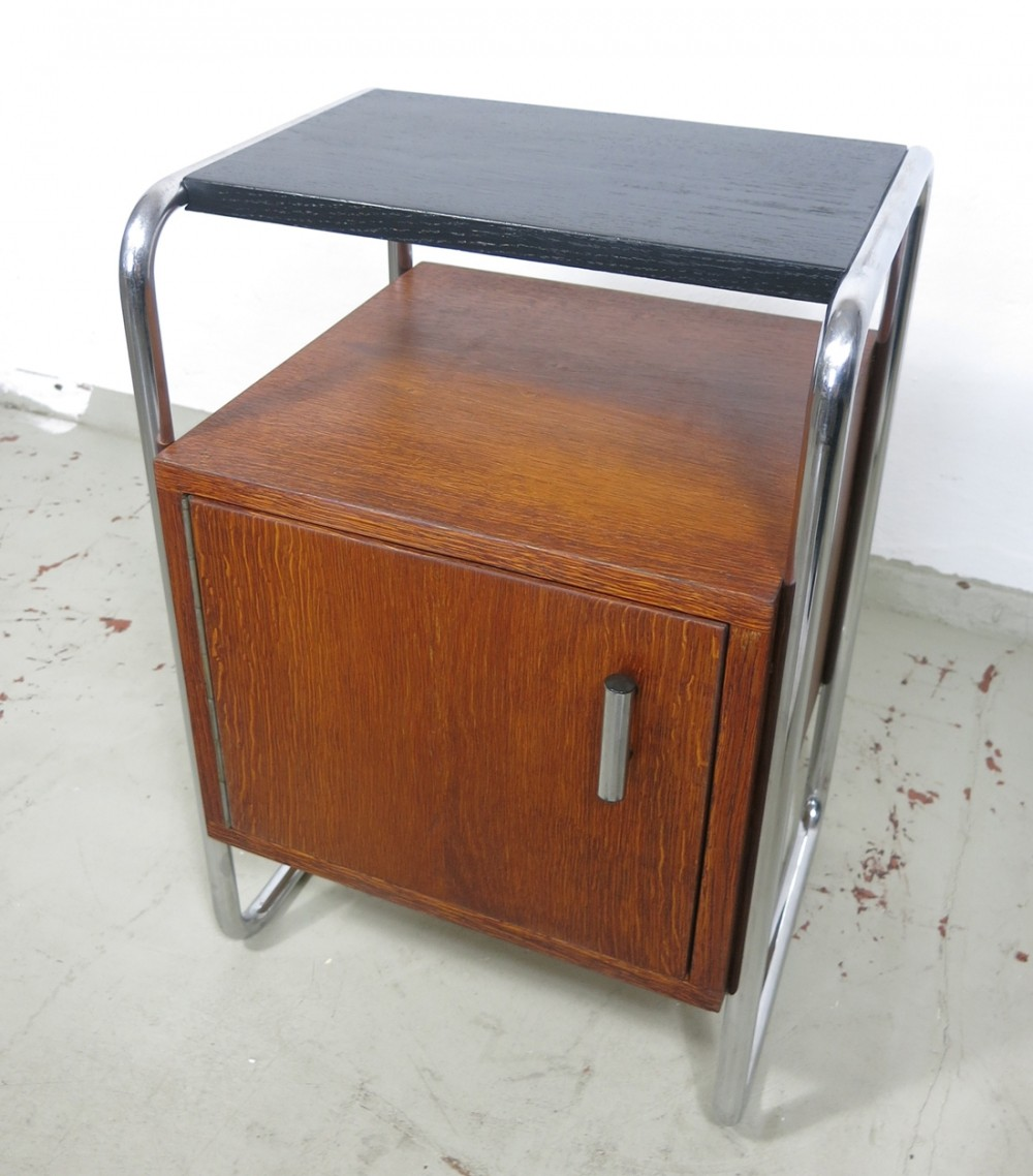 Two-toned Tubular steel bedside table by Robert Slezák, Czech Republic 1930s