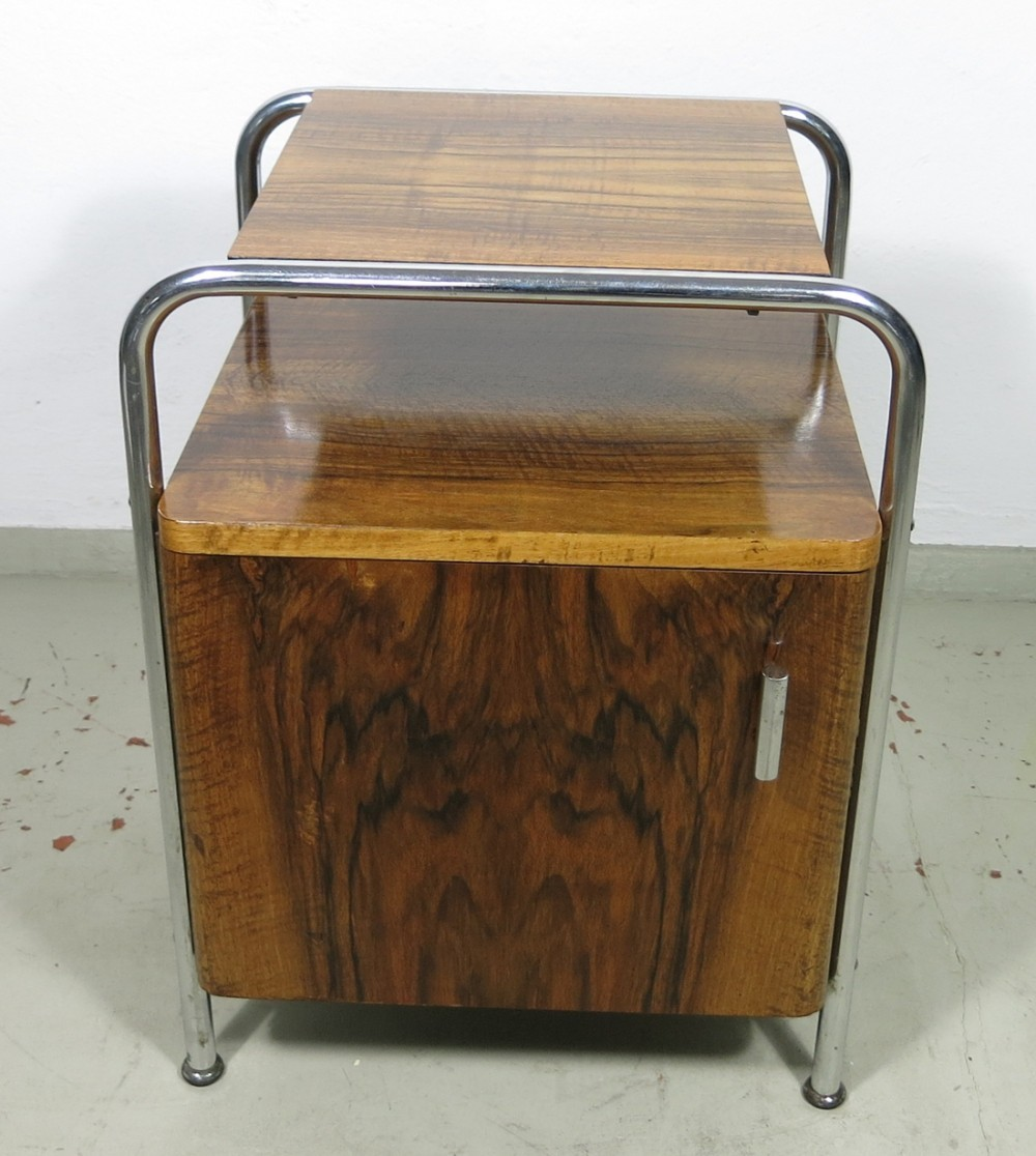 Tubular steel bedside table with veneered wood, Czech Republic 1930s