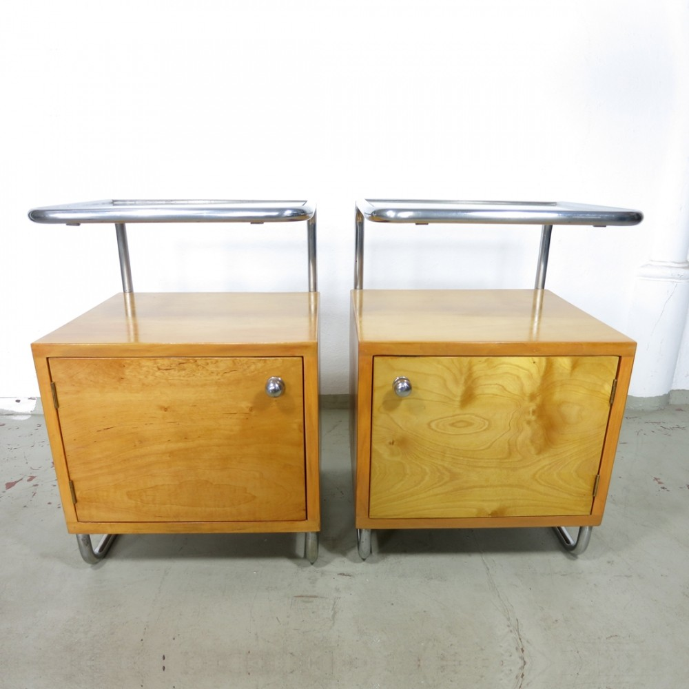 Set of two bedside tables with glass top by Rudolf Vichr, Czech Republic 1930s