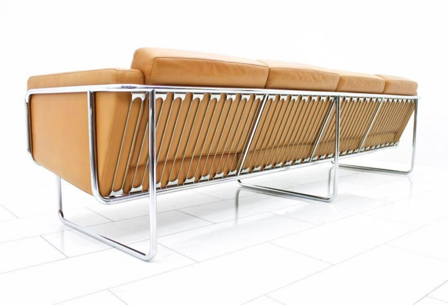 Rare Four-Seat Leather Sofa by Hans Eichenberger for Strässle, Switzerland