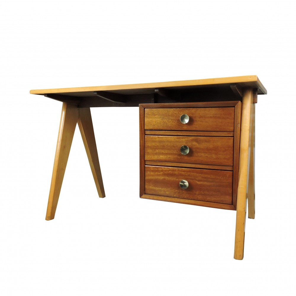 Mid-Century Teak Desk with Formica Top