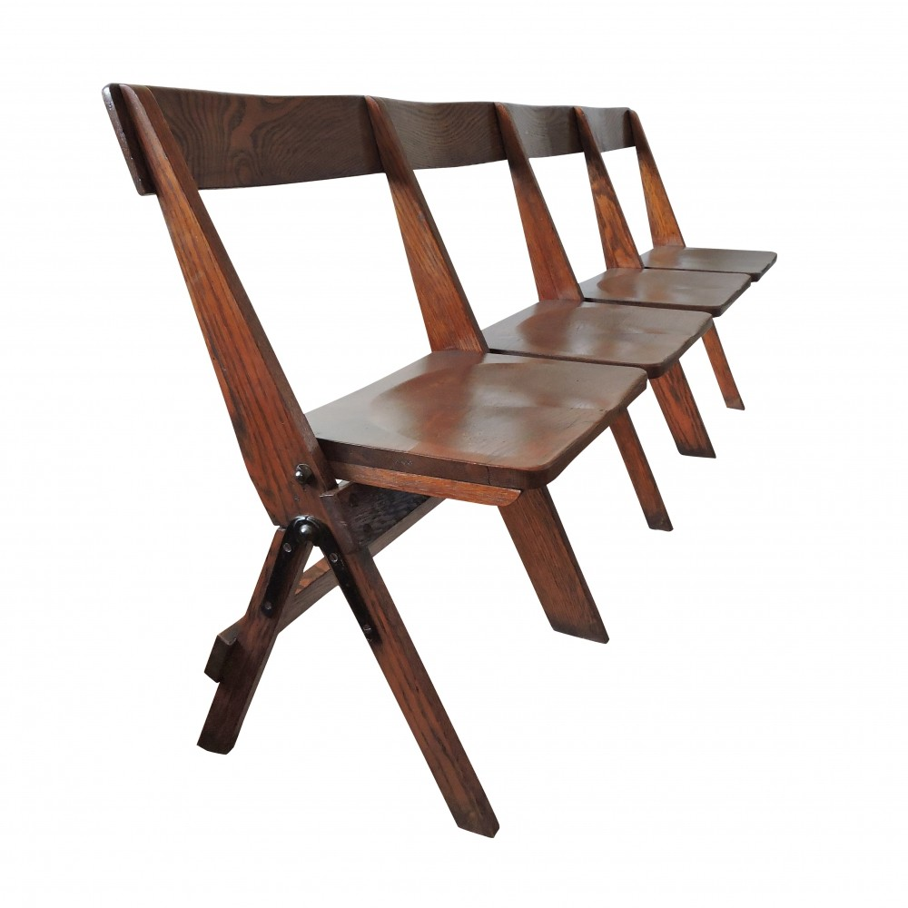 Vintage Conjoined Folding Chapel Chairs, 1920s