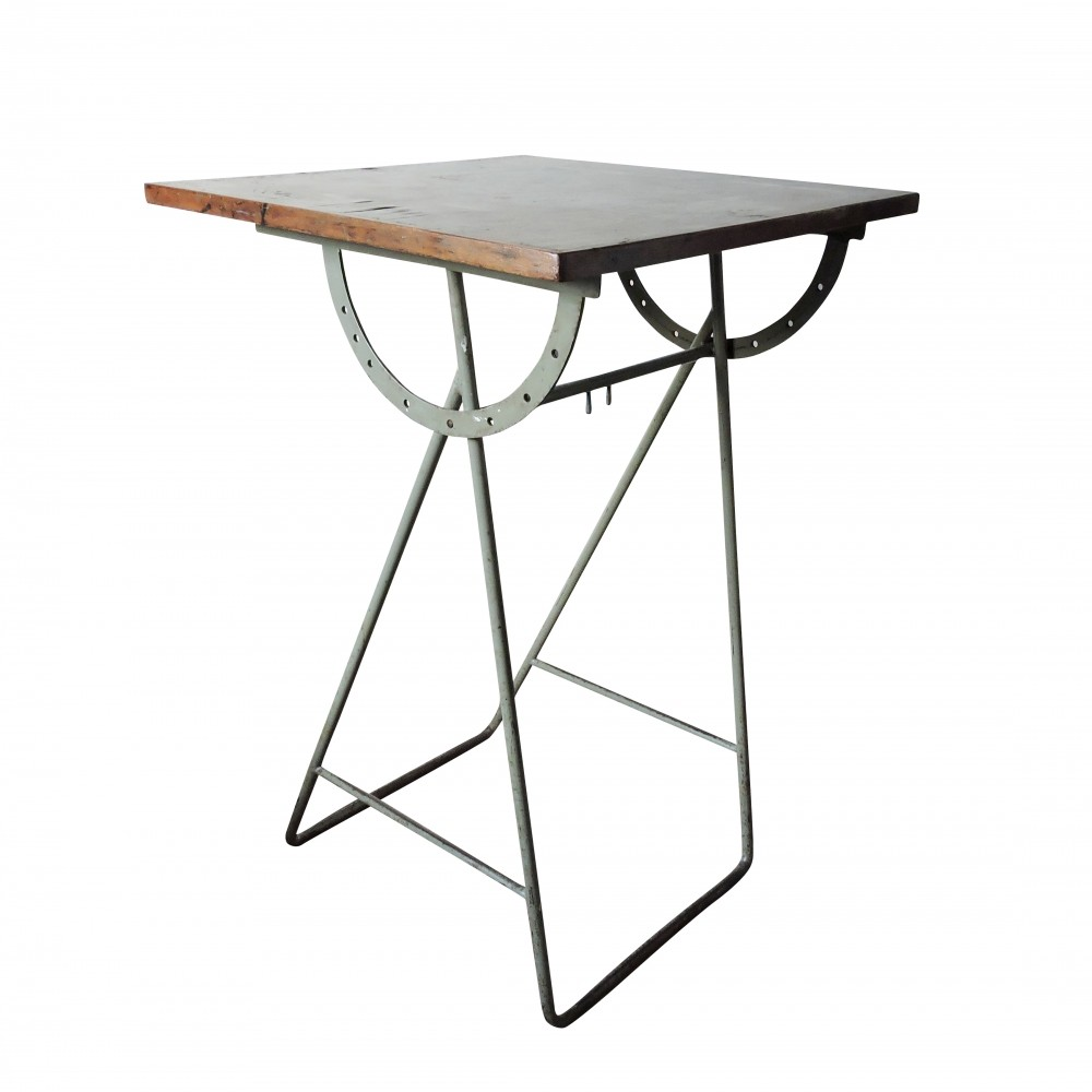 Vintage Industrial Wooden Painting Table, 1960s