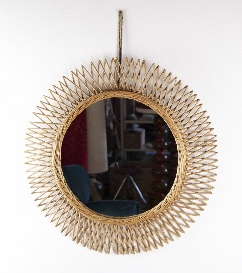 1950s French Rattan Mirror