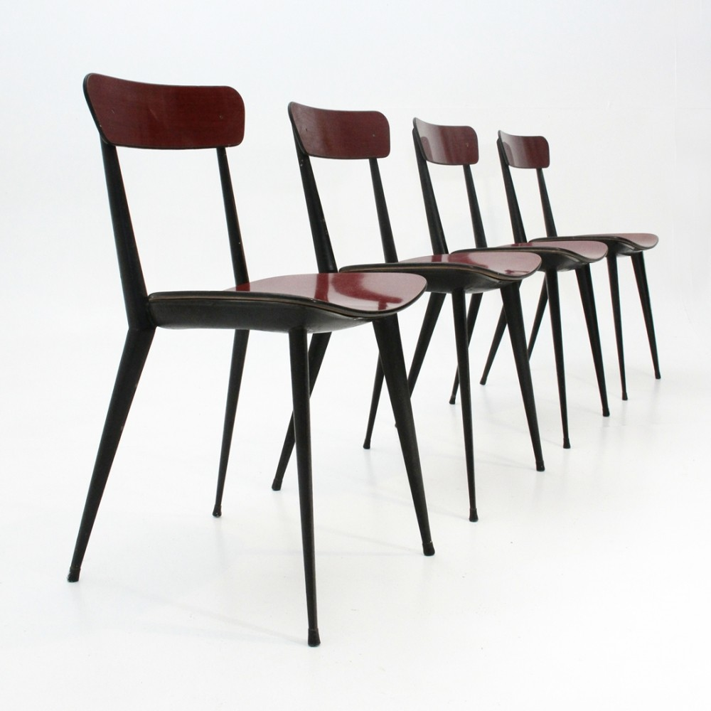 Set of 4 Italian mid-century red ant dining chairs, 1950s
