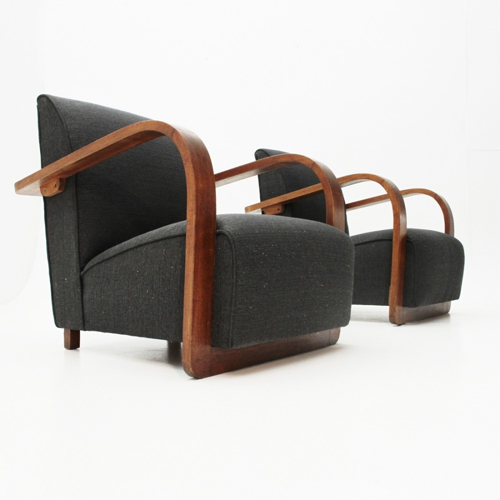 Pair of Italian modernist armchairs, 1940s