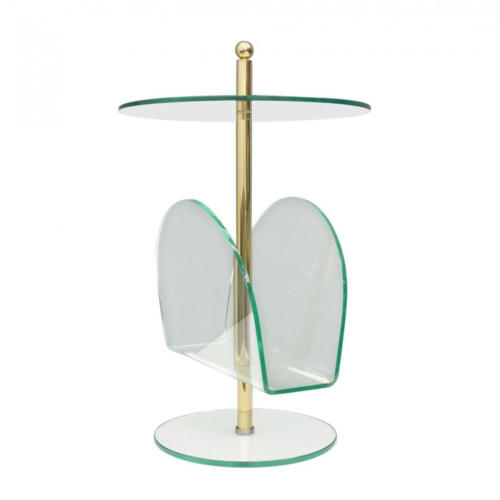Glass, Brass & Lucite Magazine Rack Side Table, 1980s