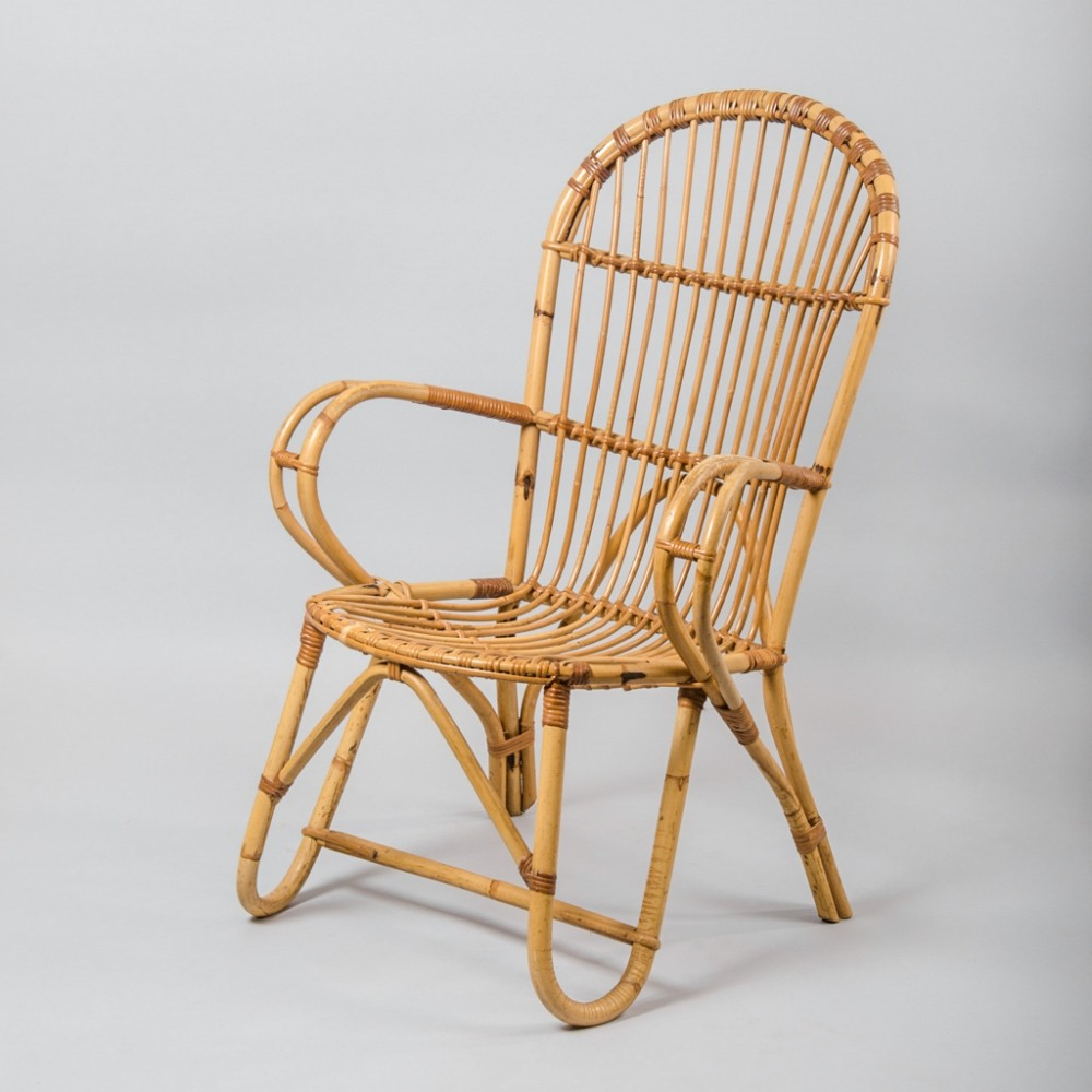 French Rattan & Wicker Armchair, 1970s