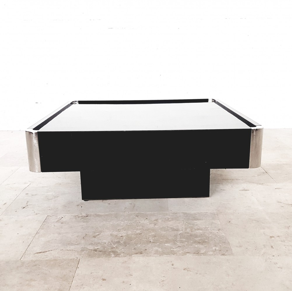 Black Lacquered coffee table by Willy Rizzo for Sabot, 1970s