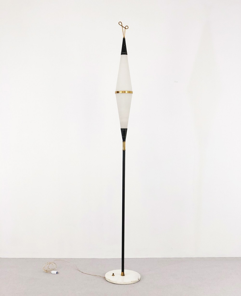 Stilnovo floor lamp in brass, marble & aluminum, 1950s