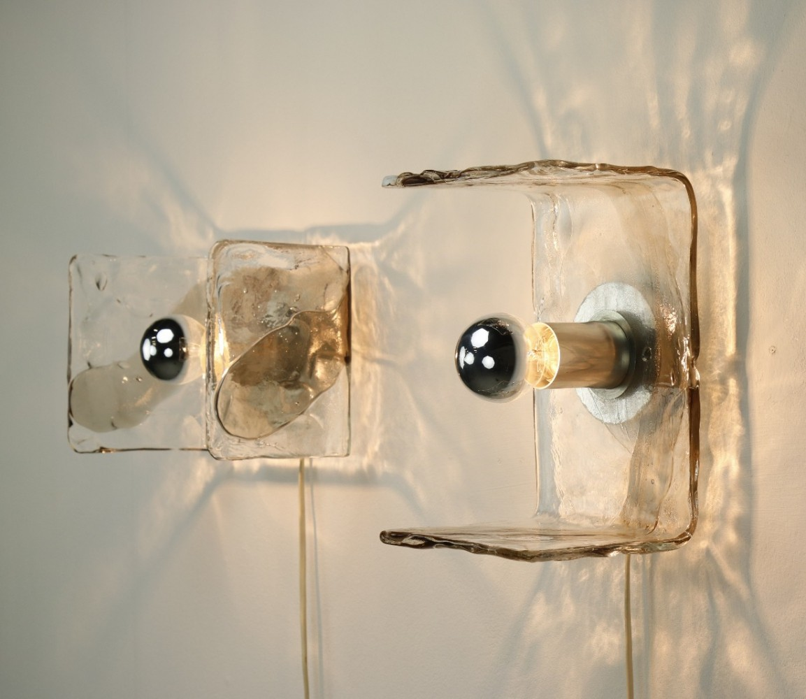 Pair of Murano glass wall lamps by Carlo Nason for Kalmar, 1960s
