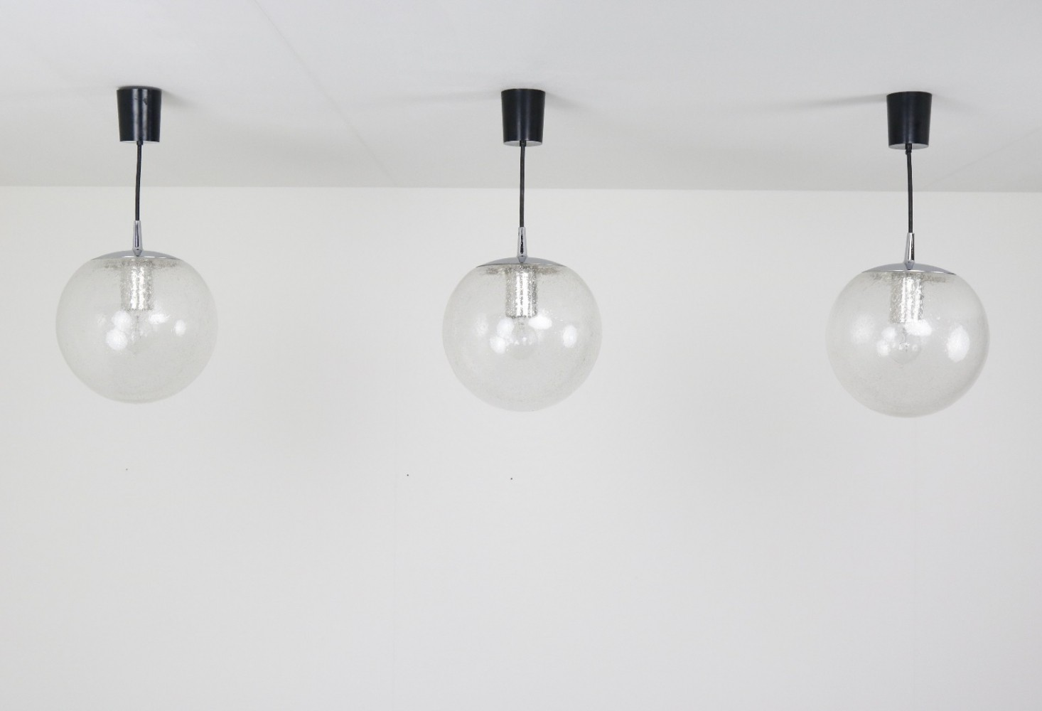 3 x Bubble glass globe hanging lamps by Peill & Putzler, 1970s