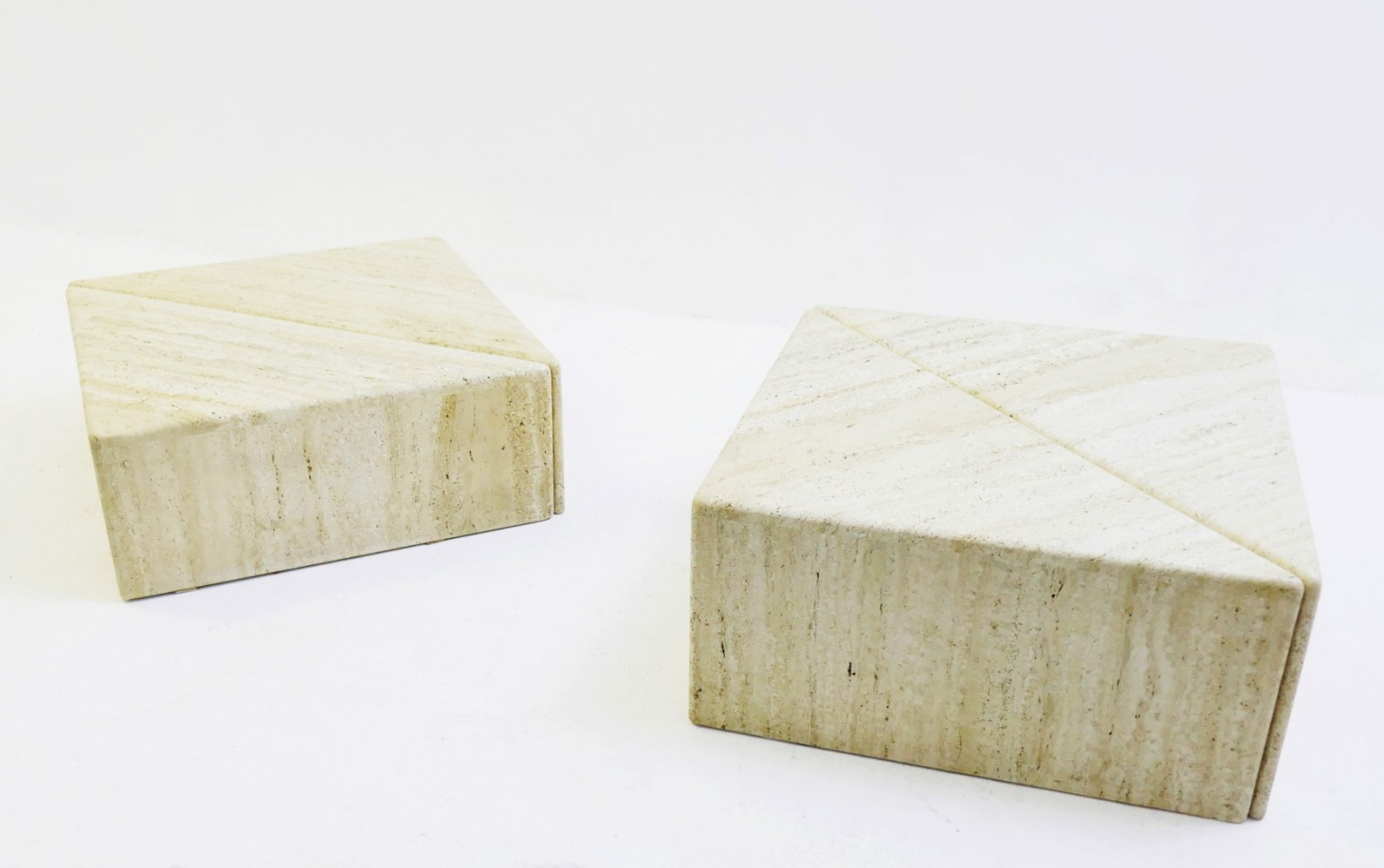 Pair of Travertine Coffee Tables / Side Tables, 1990s