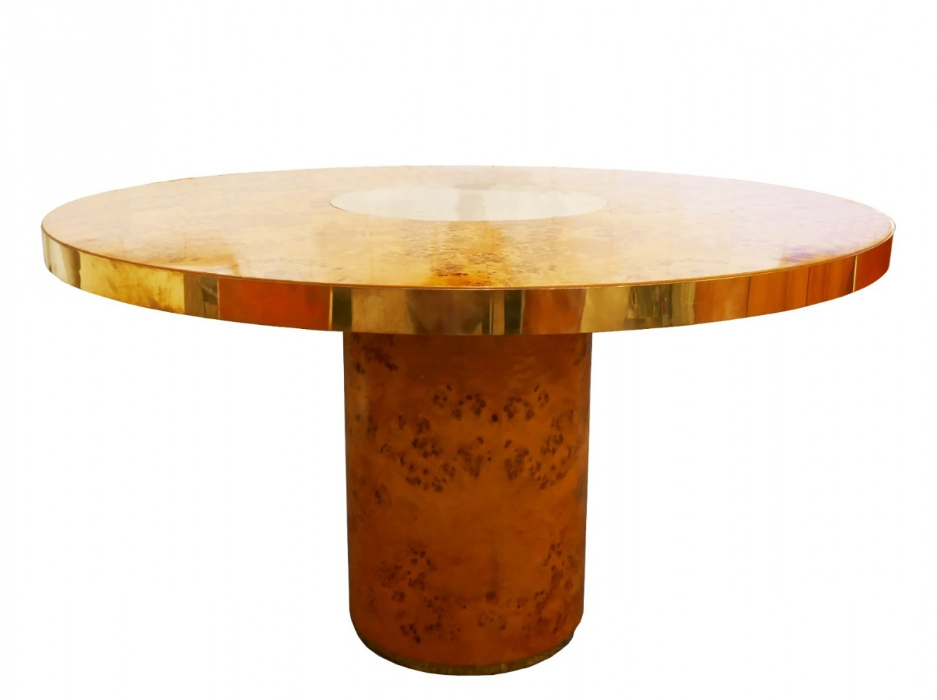 Round Dining Table In Brass & Burl By Willy Rizzo For Mario Sabot, 1970s