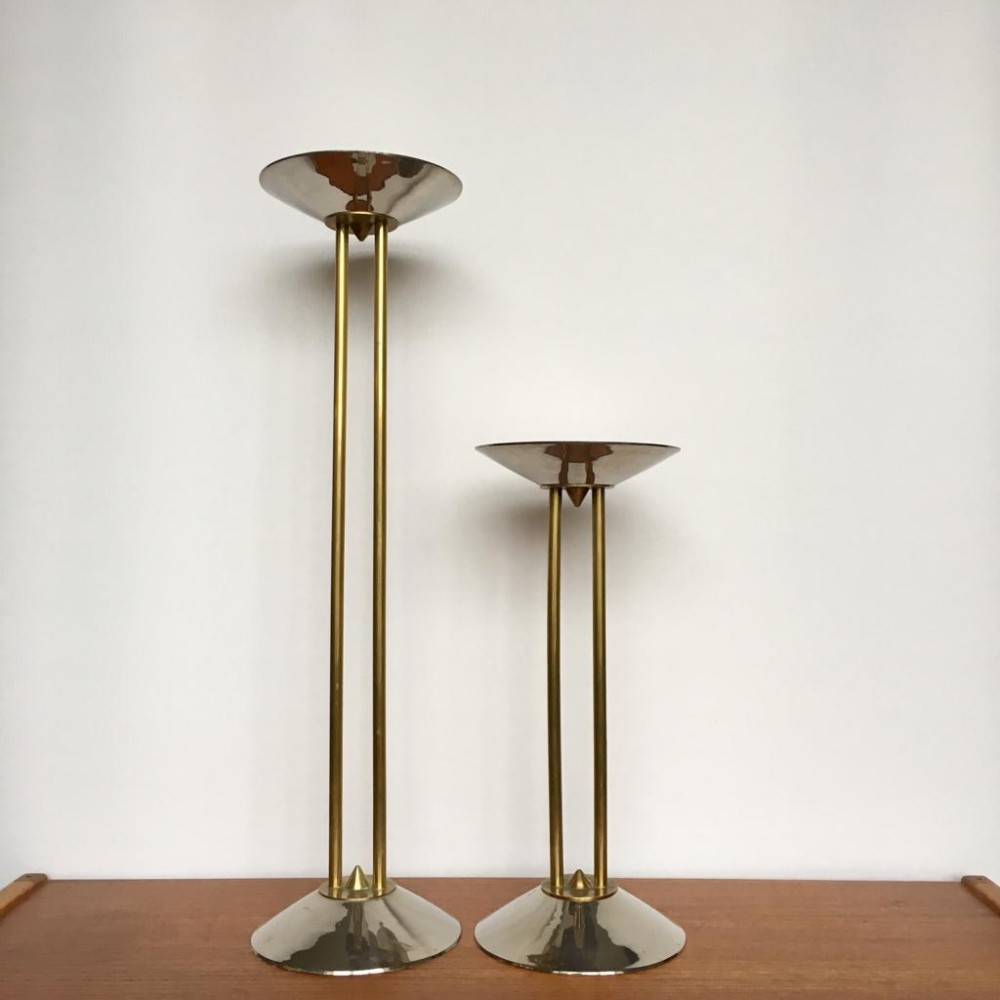 Pair of Large Steel & Brass Art Deco Candle Holders, Germany 1930s