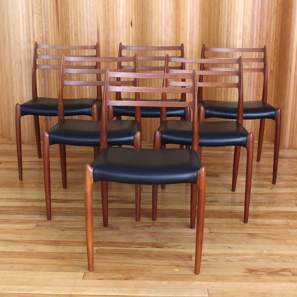 Set of six teak Niels O Moller model 78 dining chairs by J L Moller Denmark