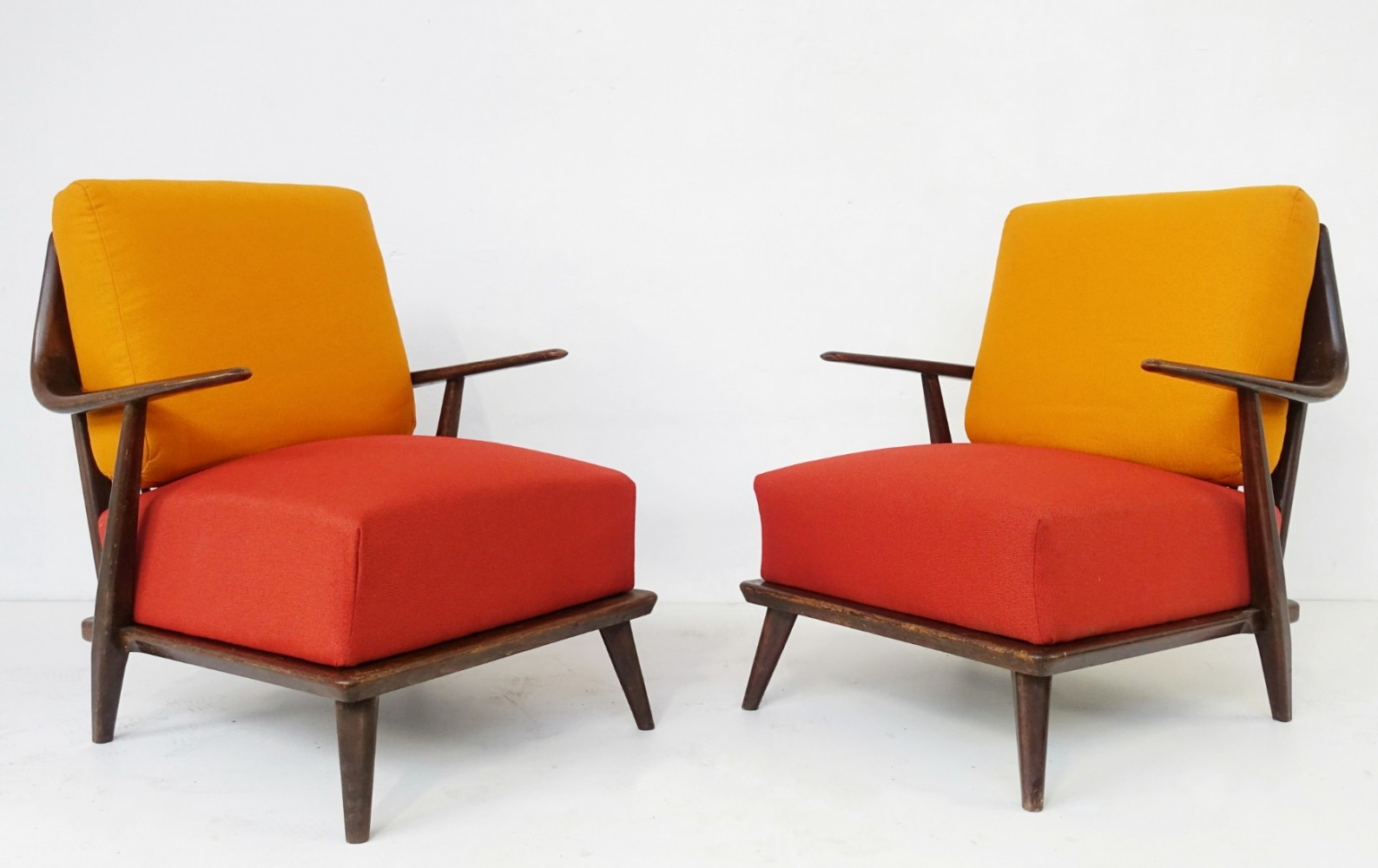 Pair Of Wooden Frame Chairs, 1960s