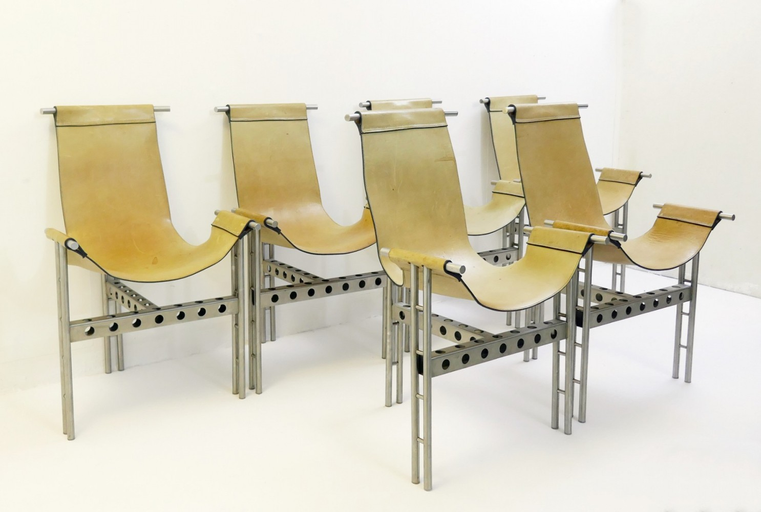 Set Of 6 Metal Frame And Leather Chairs, 1970s