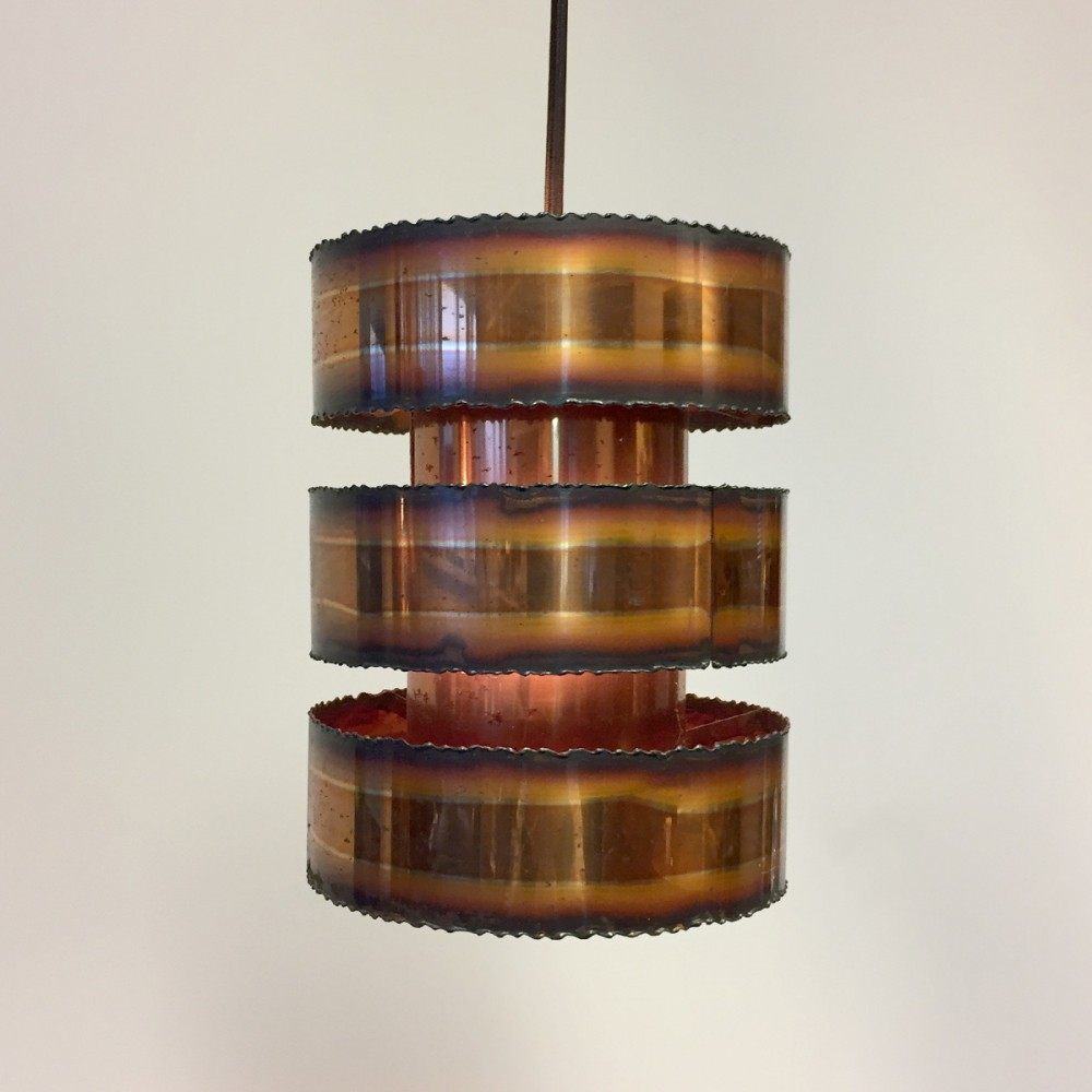 Danish cylinder shaped pendant in copper by Svend Aage Holm Sørensen, 1960s