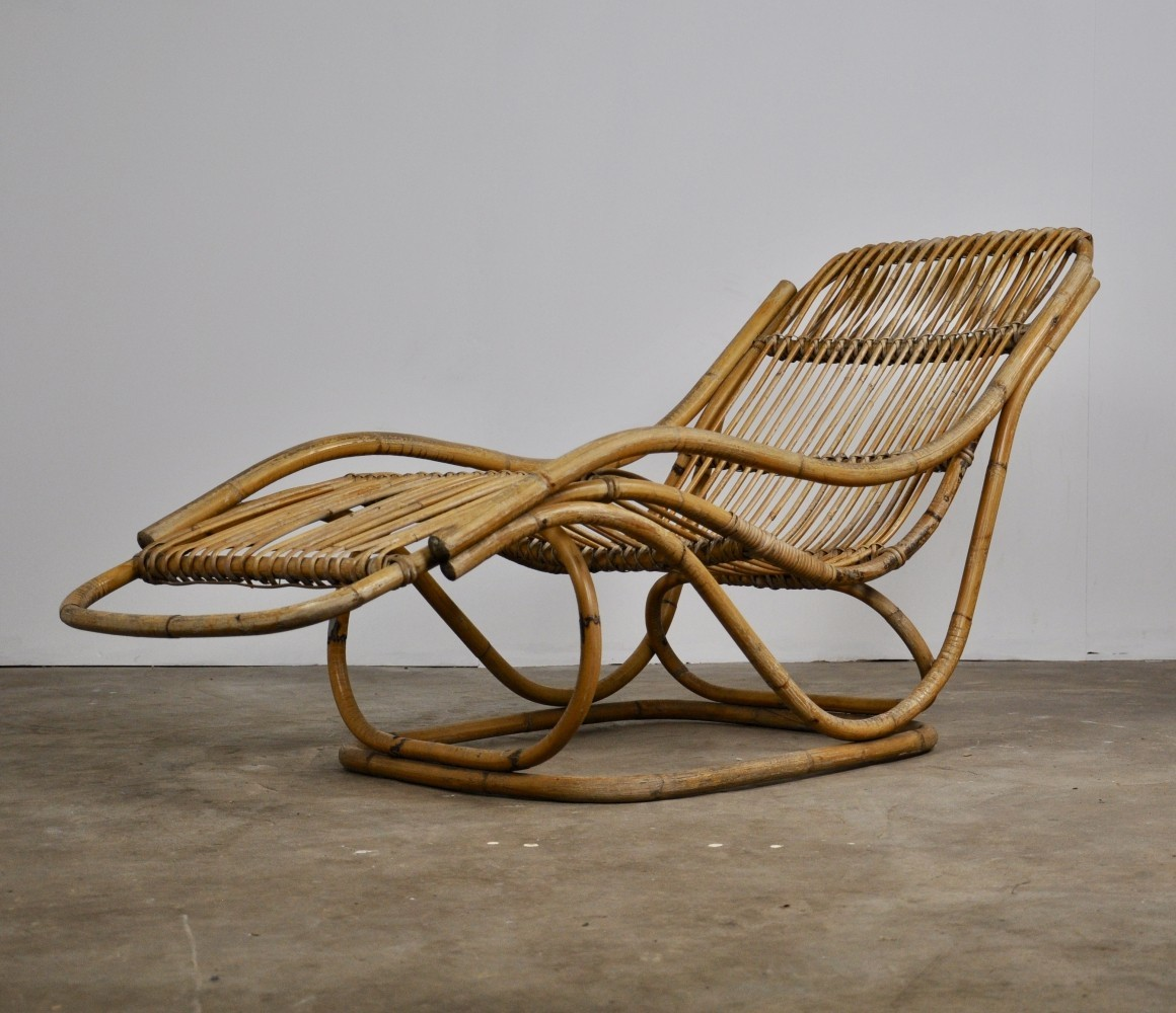 Rattan Chaise Lounge, 1960s