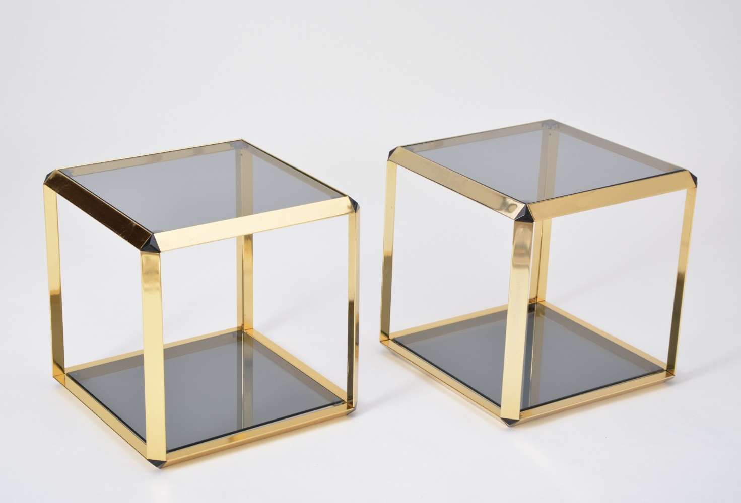 Pair of Gold Colored Side Tables by Alberto Rosselli for Saporiti