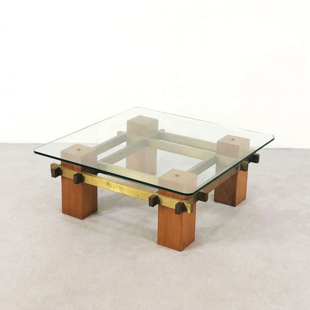 Italian coffee table in brass, wood & crystal glass, 1950s