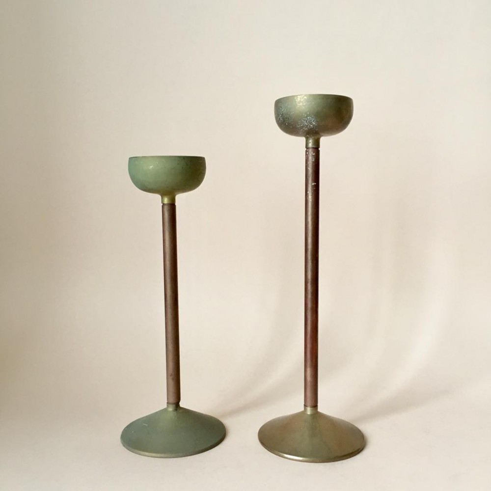 Pair of Art Deco Copper & Brass Candle Holders, Germany 1930s