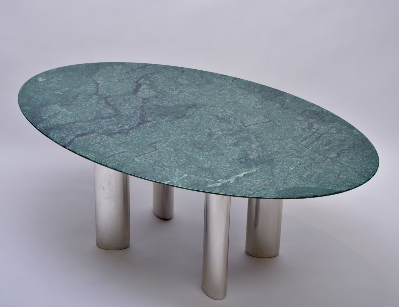 Green Marble Dining Table with chrome base, 1980s