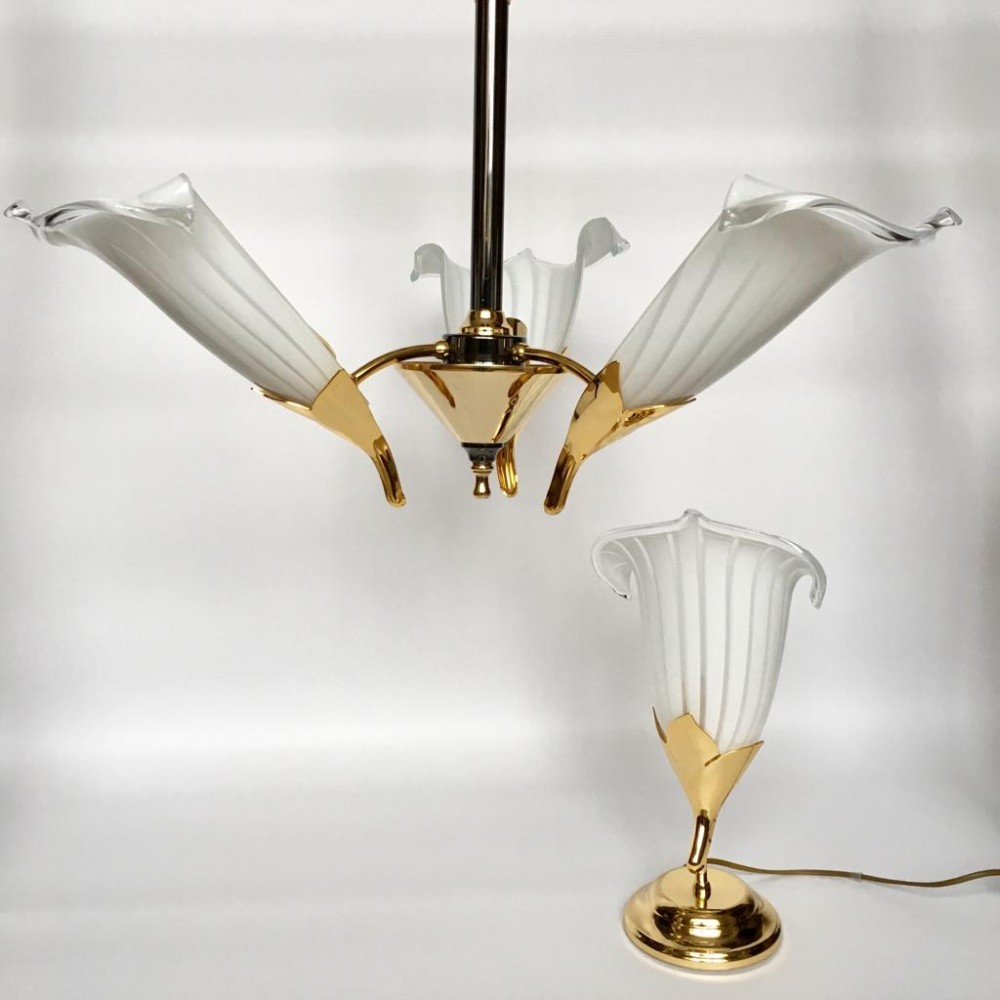 Vintage Italian Murano Glass Chandelier & Table Lamp by Franco Luce, 1970s