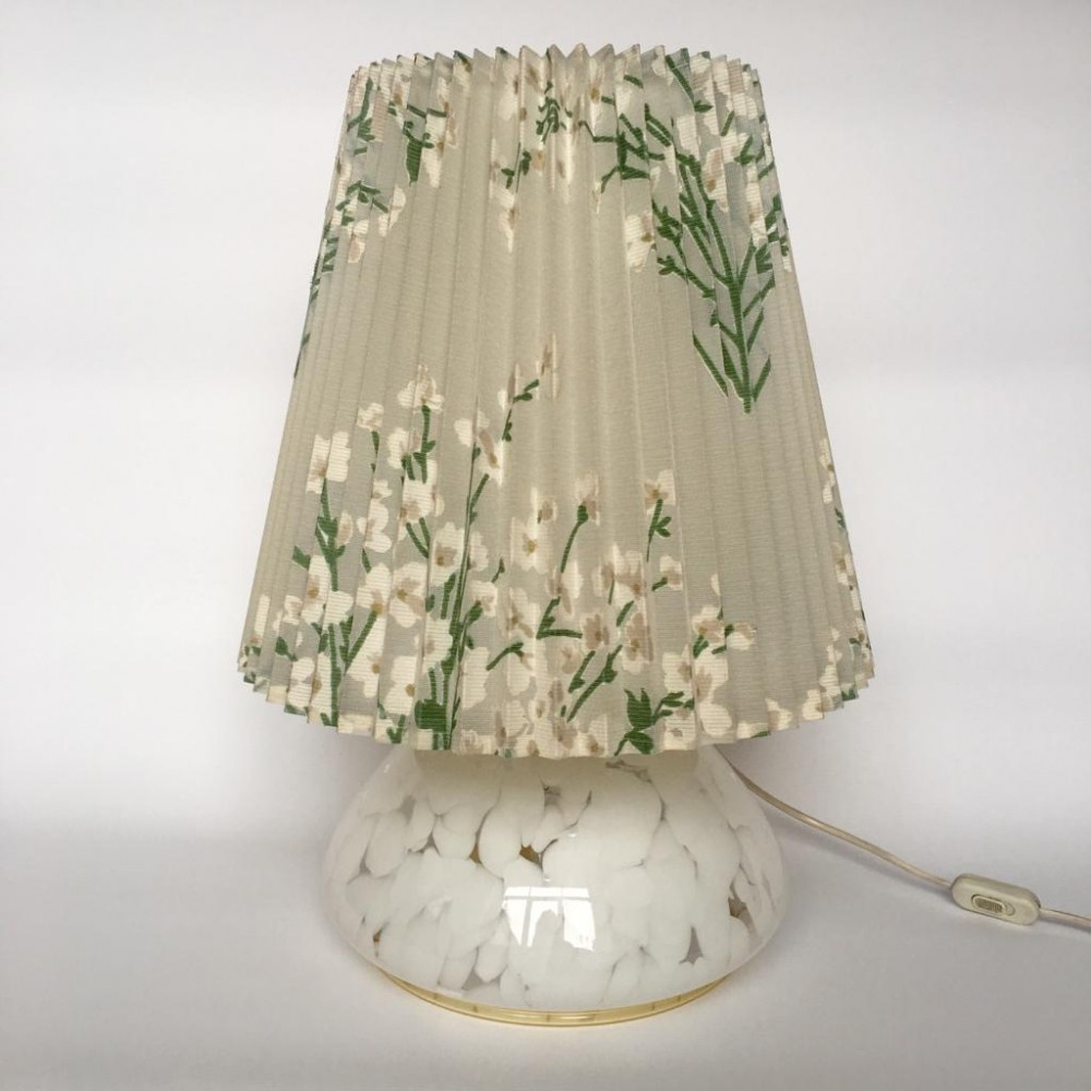 Vintage Large Art Glass Table Lamp with Luminous Base, 1960s