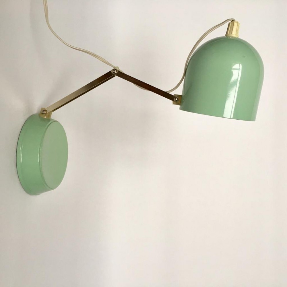Vintage Mint Metal Wall or Table Lamp, 1981