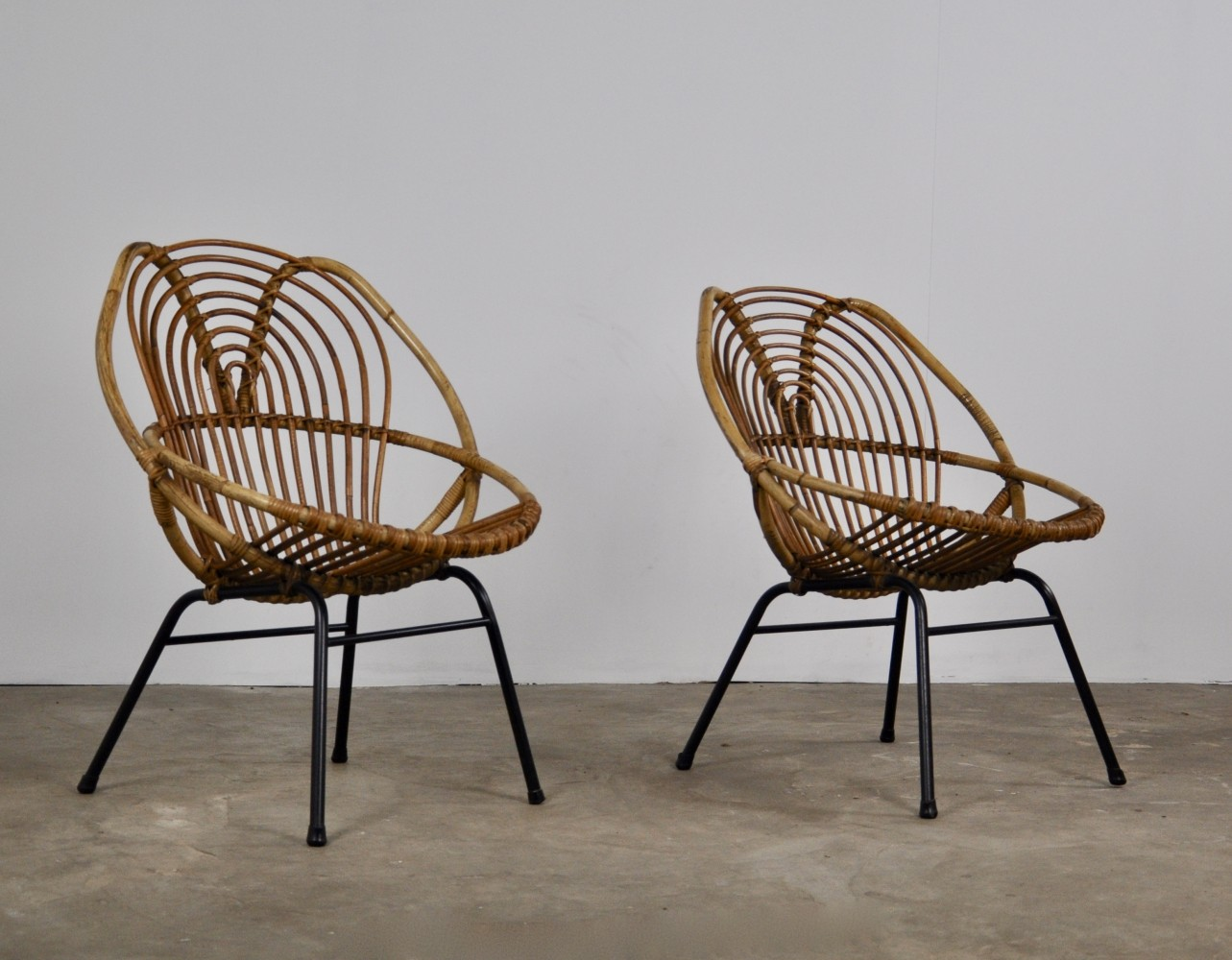 Pair of Rattan Lounge Chairs by Rohe Noordwolde, 1960s