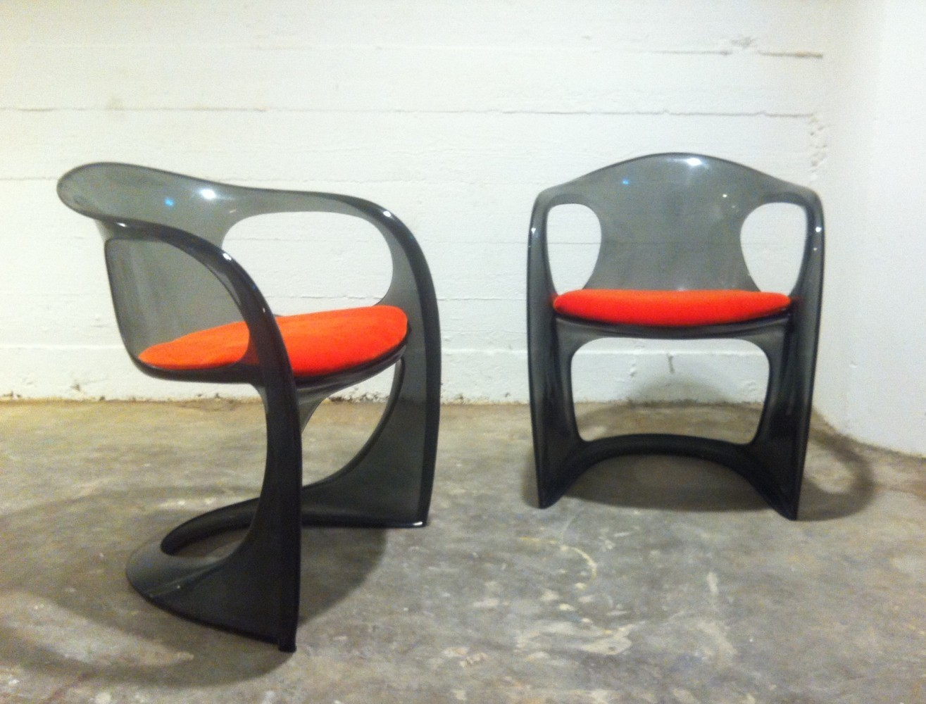 Pair of Smoked Lucite Casalino Chairs by Alexander Begge, 1970s