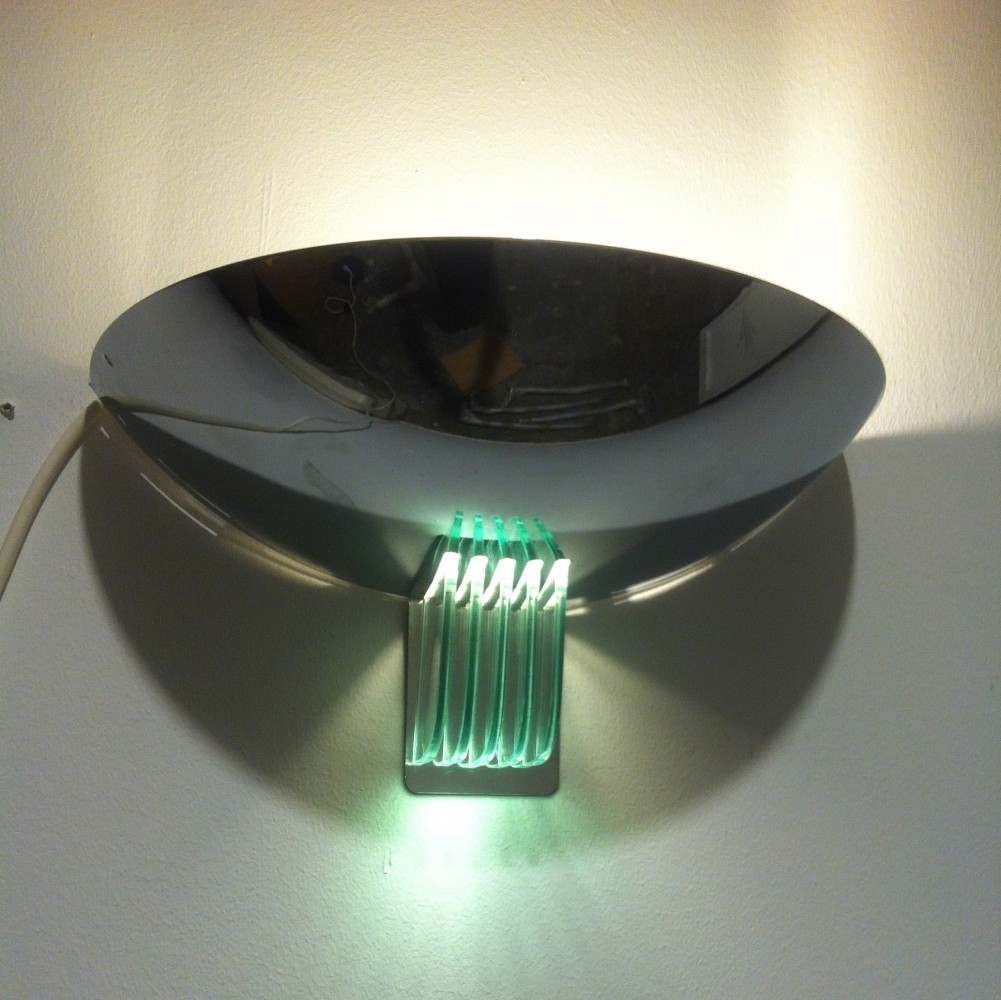 Chrome & glass wall lamp by Lumess Suisse, 1970s
