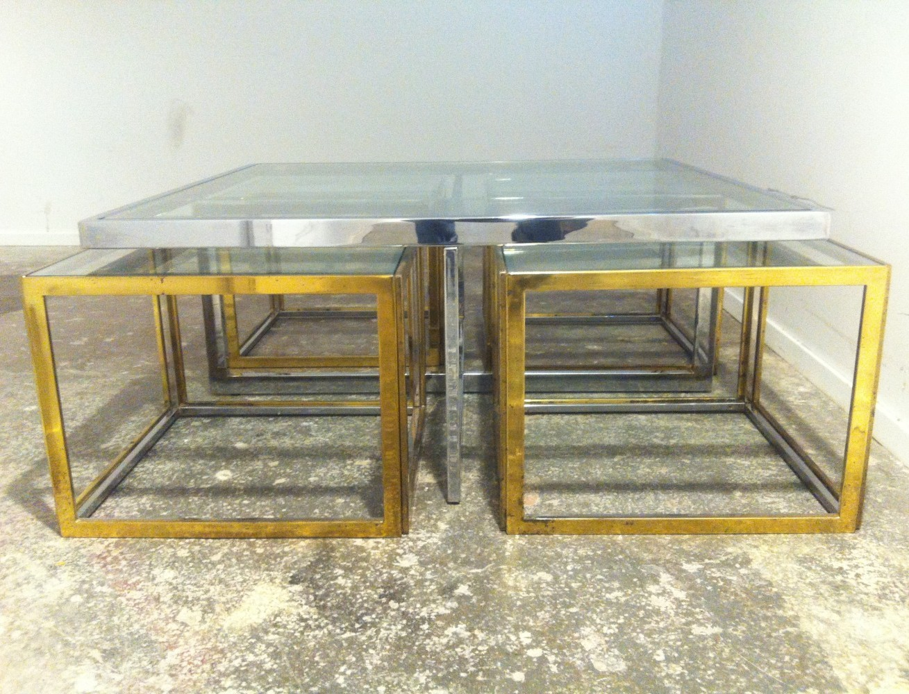 Maison Charles chrome & brass coffee table with 4 nesting tables
