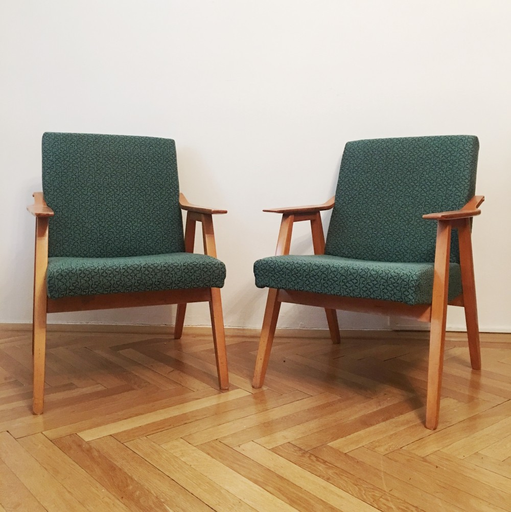 Pair of Green Vintage Armchairs, 1960s