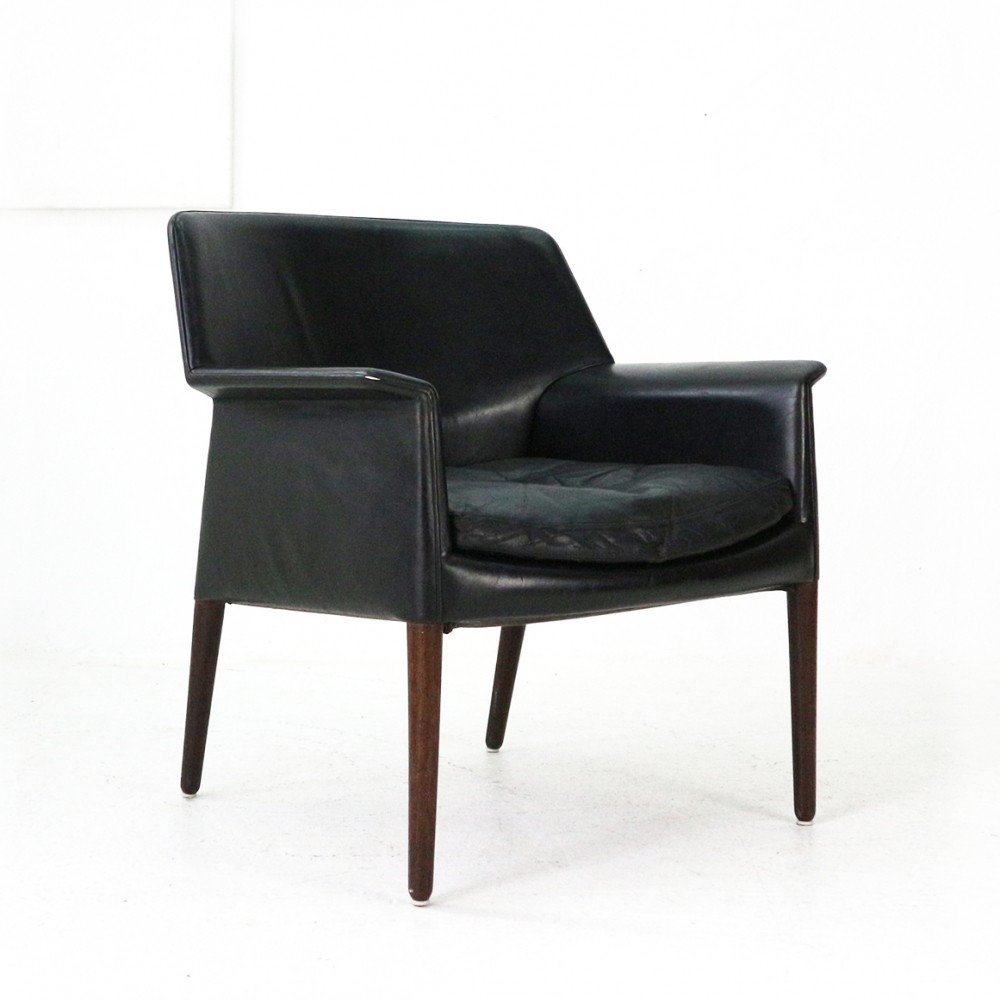 Rosewood & Leather Club Chair by E. Larsen & A. Bender Madsen
