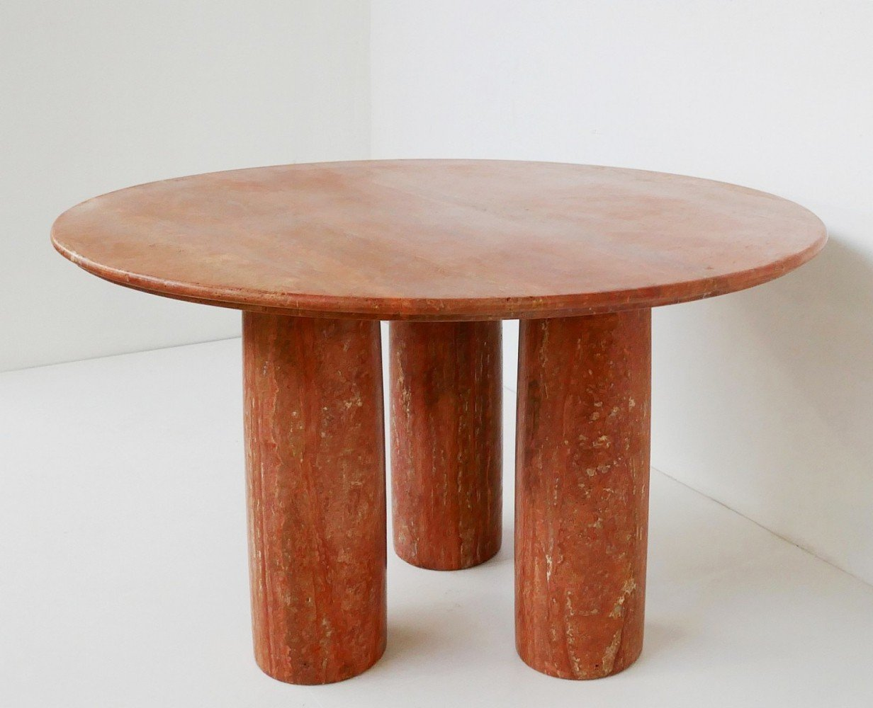 Italian Red Travertine Dining Table