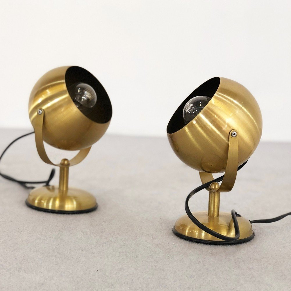 Pair of Abat jour wall lights by Goffredo Reggiani in brass, 1970