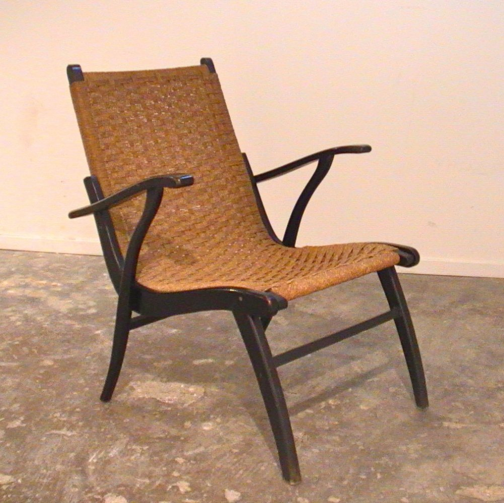 Vroom & Dreesman papercord & wood lounge chair