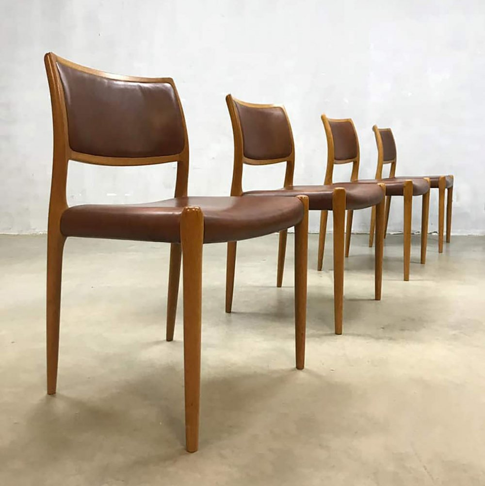 Set of 4 vintage Danish dining chairs model No.80 by Niels O. Møller