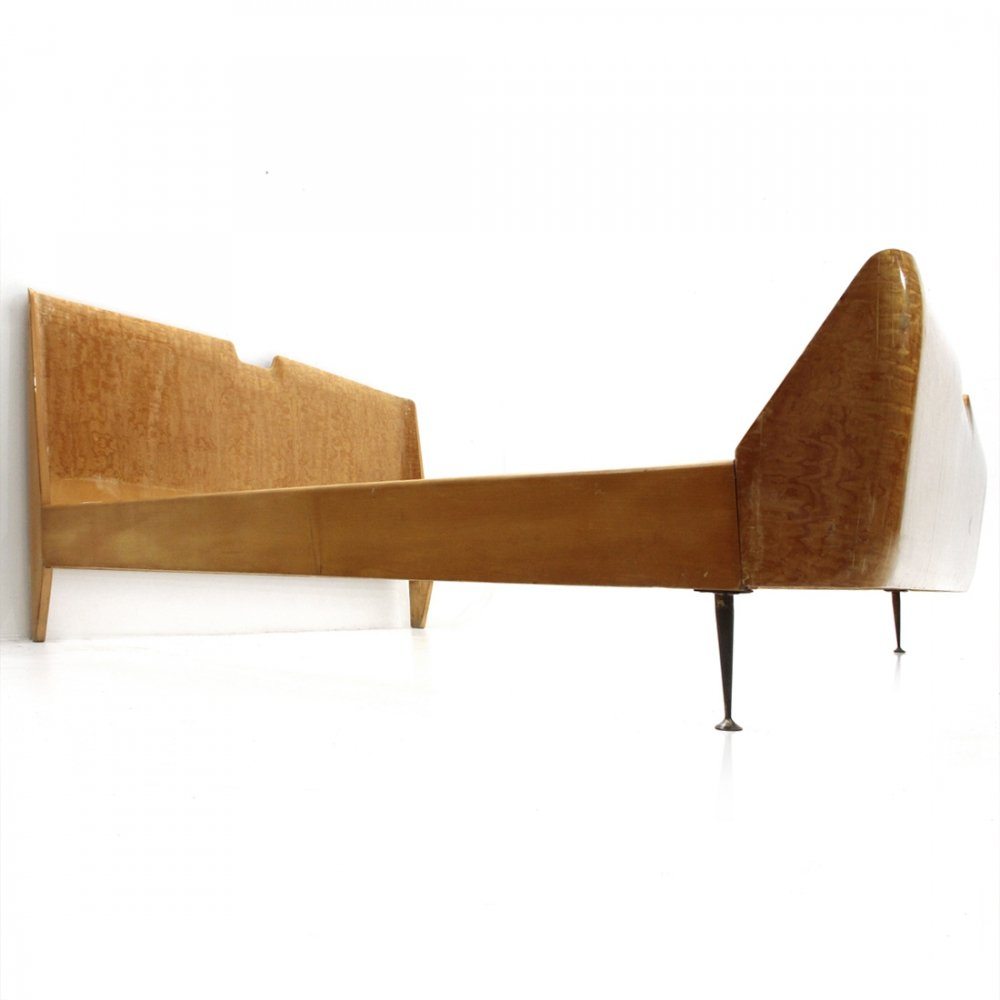 Italian Mid-century bed with brass legs, 1950s