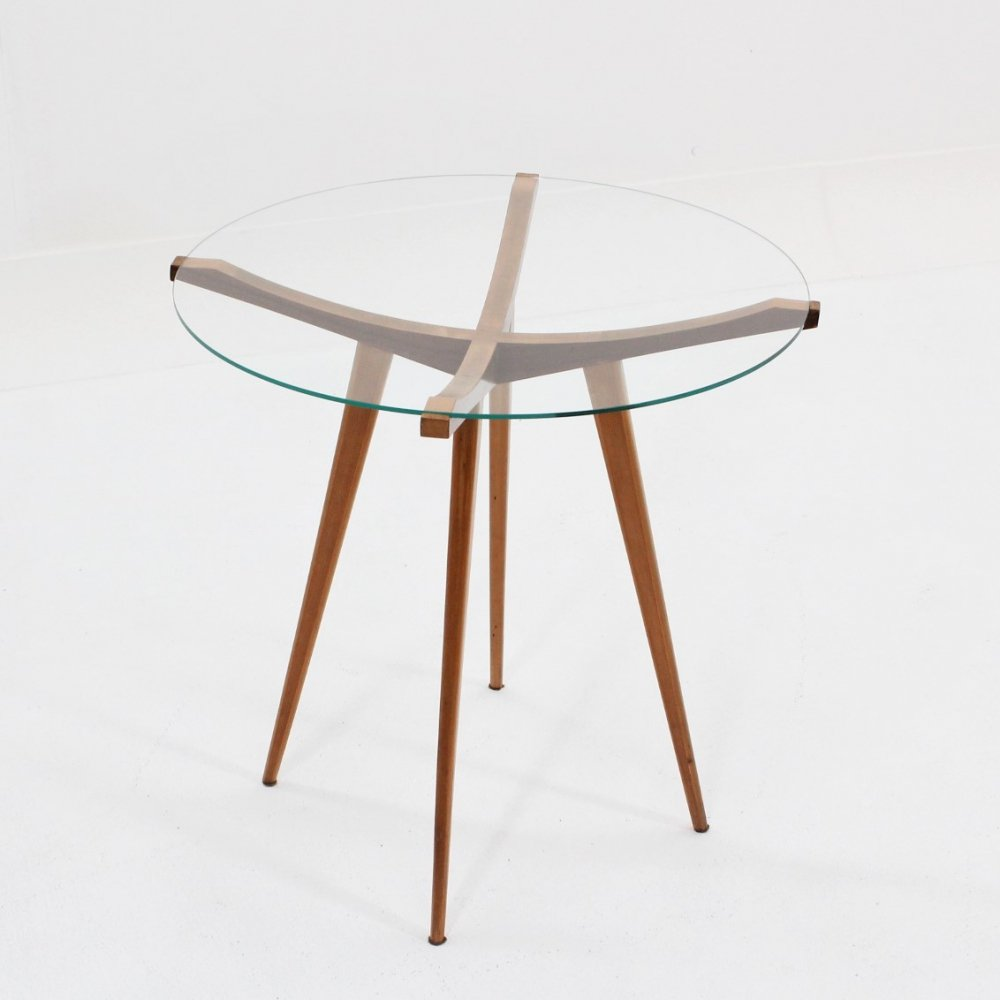 Occasional Mid Century Italian Design Round Walnut Coffee