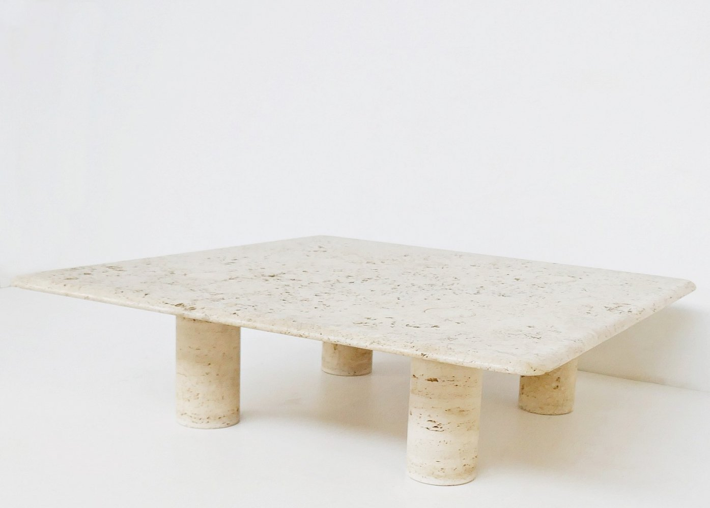 Large Travertine Coffee Table by Angelo Mangiarotti for Up&Up, Italy 1970s
