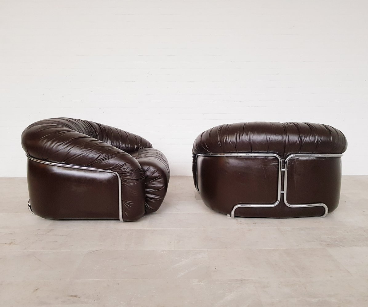 Pair of brown leather Italian lounge chairs, 1970s