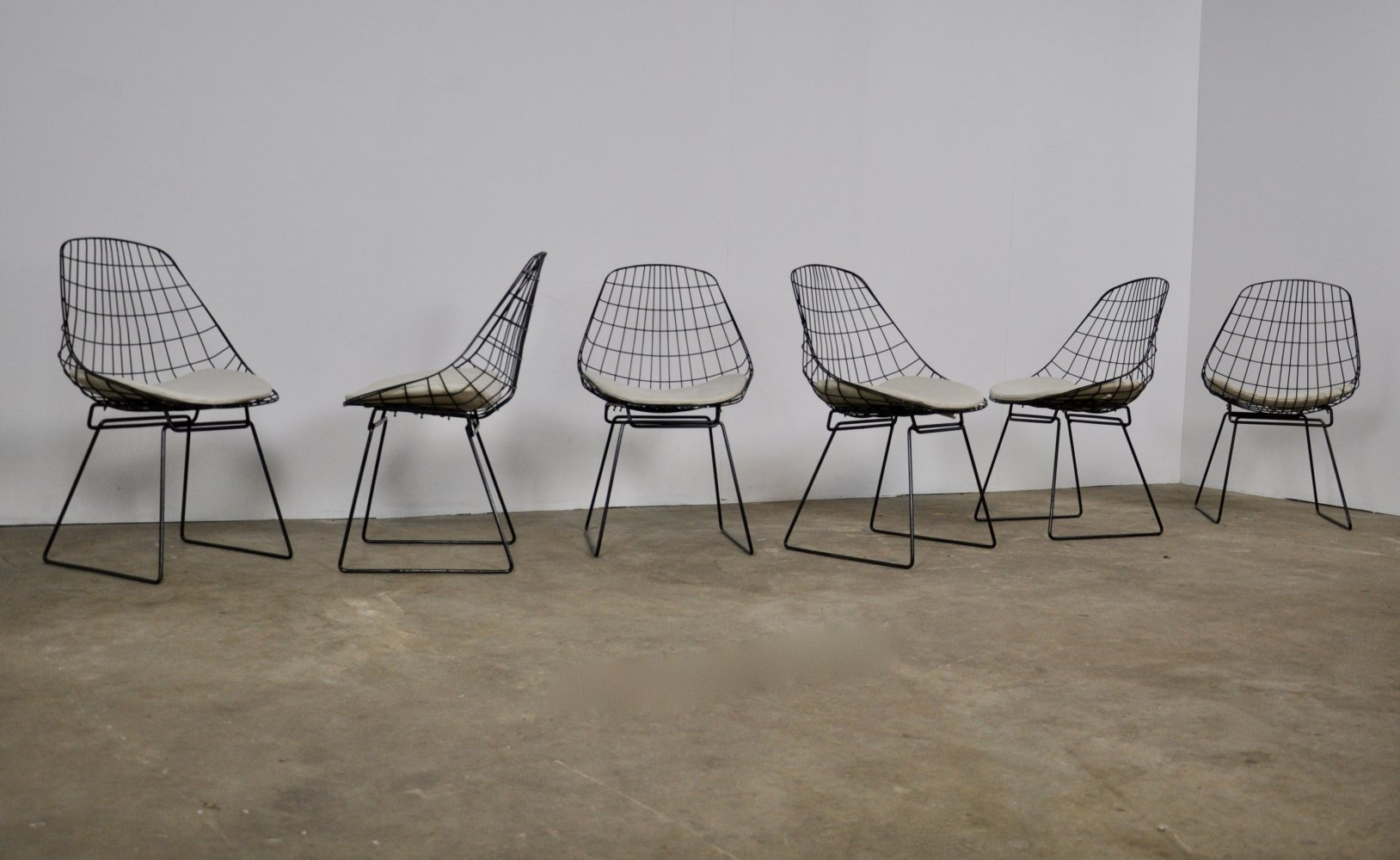 Set of 6 Wire SM05 Chair by Cees Braakman & Adriaan Dekker for Pastoe, 1958