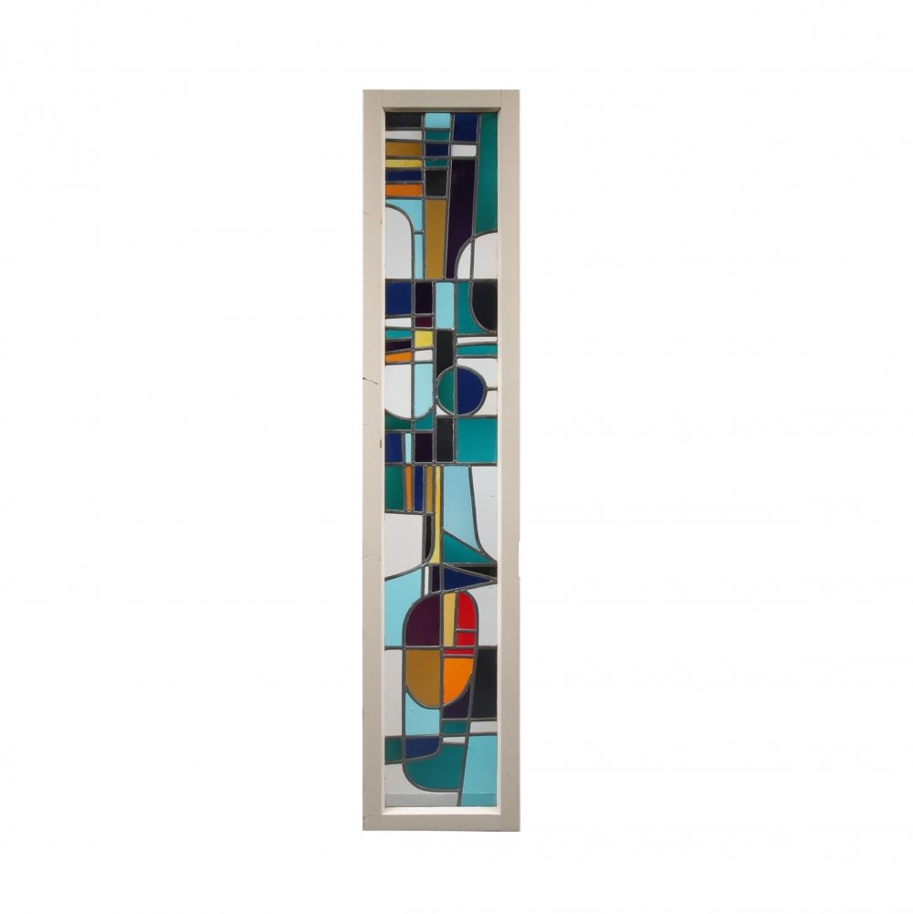 Stained Glass Window by Roger Vandeweghe for Amphora Brugge, Belgium 1960s